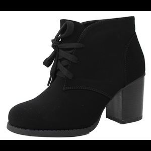 Shoes - Black faux nubuck leather lace up ankle boot